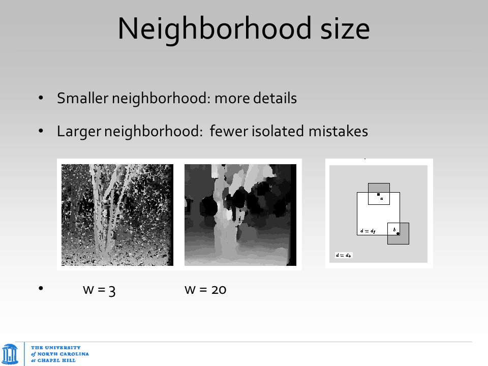 Neighborhood size Smaller neighborhood: more details