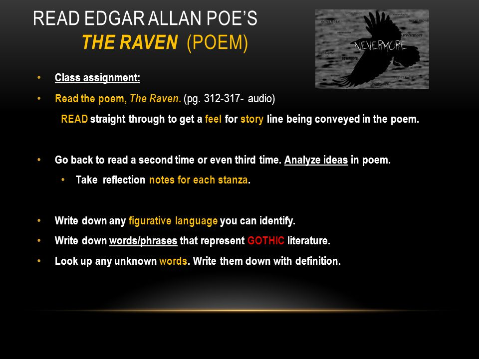 Read Edgar AllAn Poe's The Raven (poem)