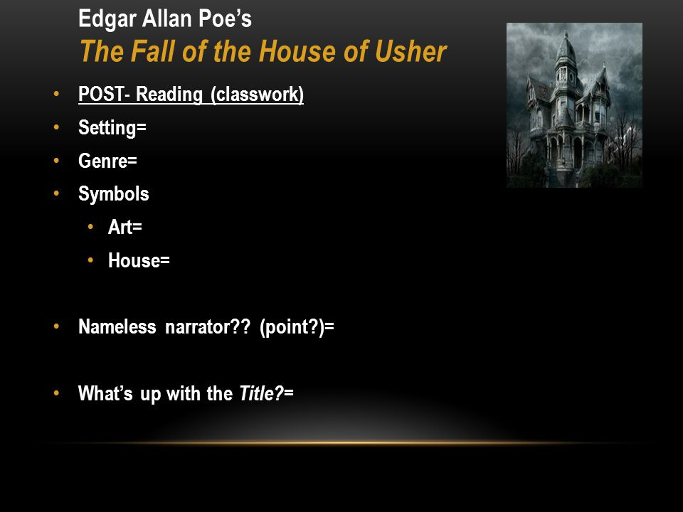 symbolism in the fall of the house of usher essay The fall of the house of usher the legendary writers usually exploit human fear of gothic elements and strange happenings in life still, some authors like edgar allan poe go beyond the limits of gothic fiction and enter the realm of psychological thrillers.