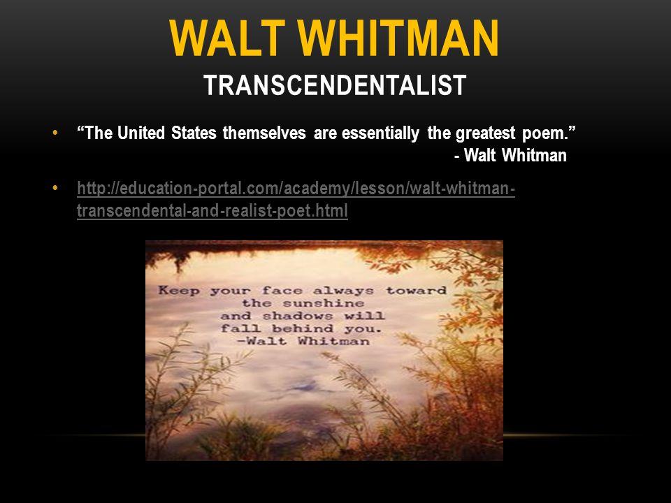 Walt Whitman Transcendentalist