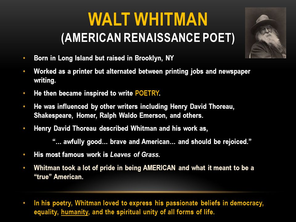 ralph waldo emerson vs walt whitman Emerson and whitman's correspondance this website will give insight on the relationship and similarities of ralph emerson and walt whitman throughout their writing careers as well explore the differences between the two transcendentalists.