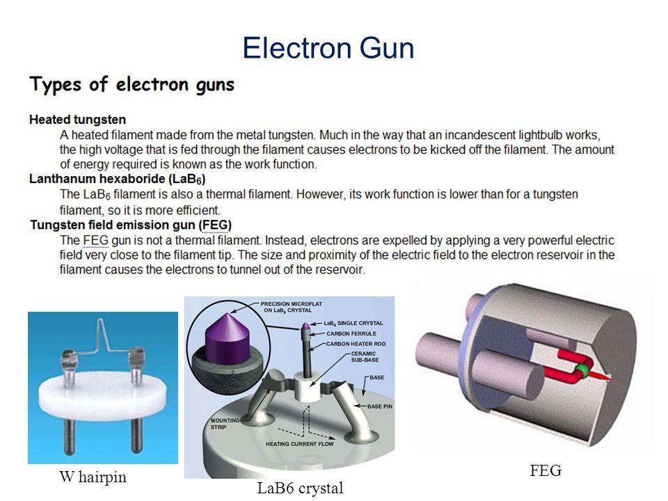 Electron Gun FEG W hairpin LaB6 crystal