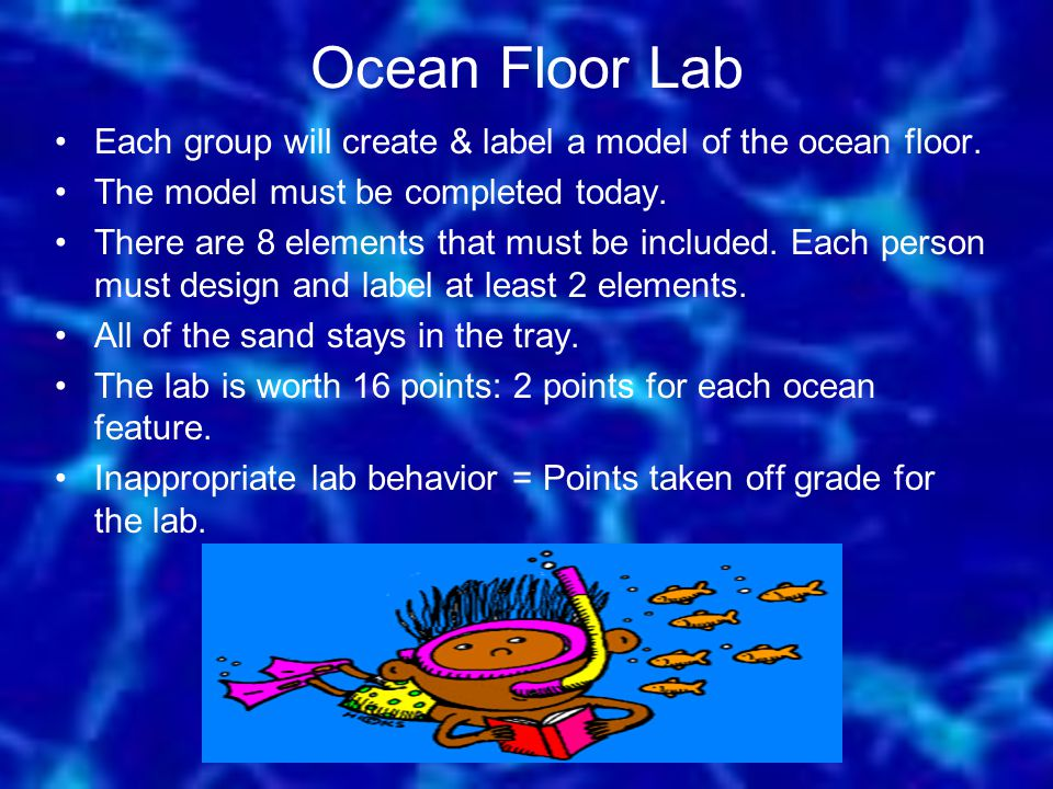 Ocean Floor Lab Each group will create & label a model of the ocean floor. The model must be completed today.