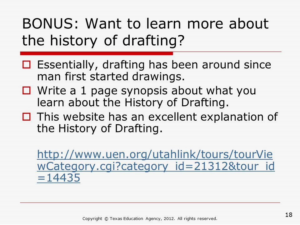 BONUS: Want to learn more about the history of drafting