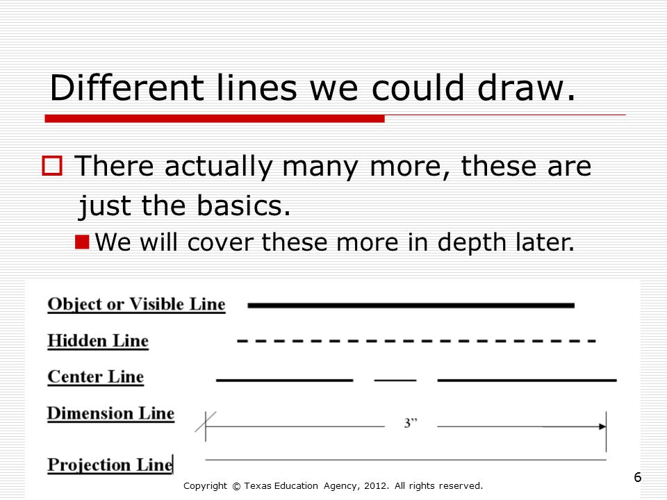 Different lines we could draw.