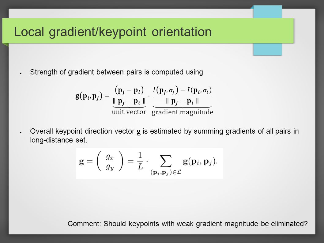 Local gradient/keypoint orientation