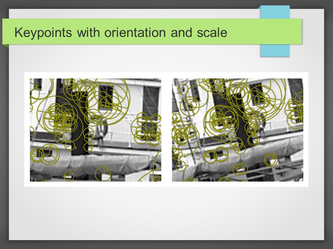 Keypoints with orientation and scale