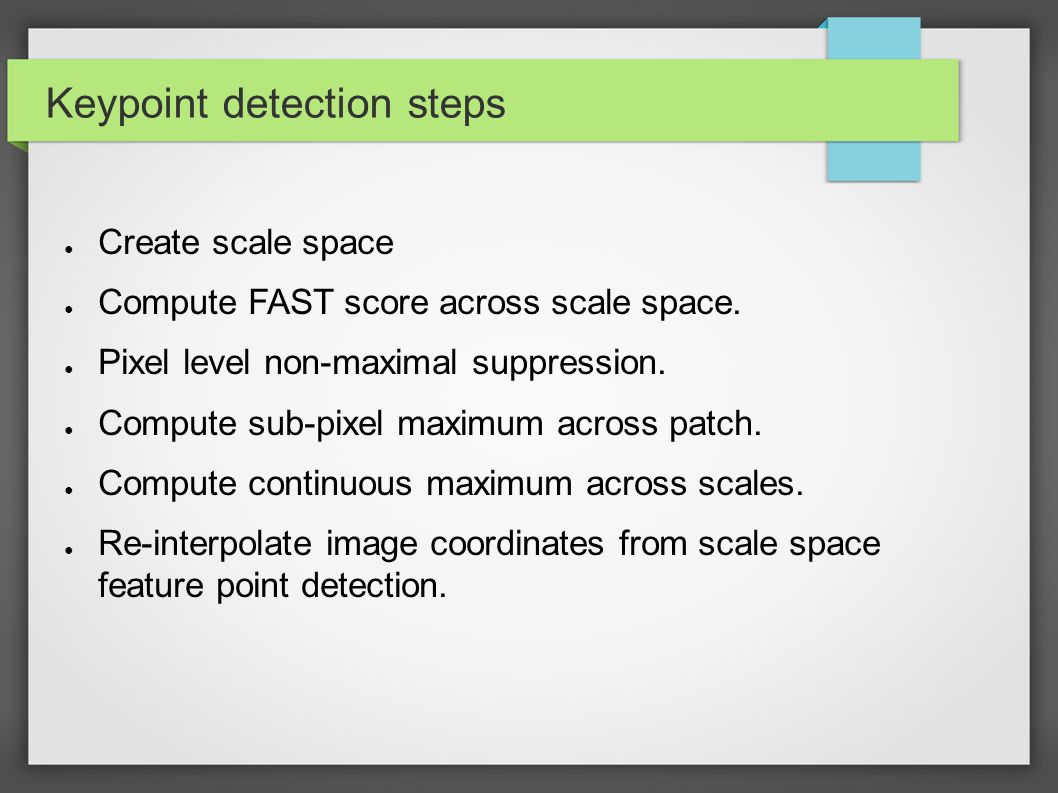 Keypoint detection steps