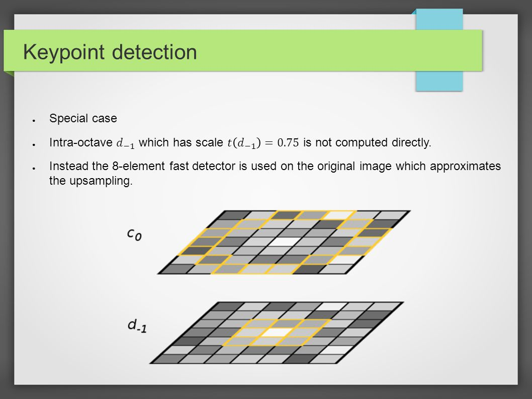 Keypoint detection Important to improve speed and memory Special case