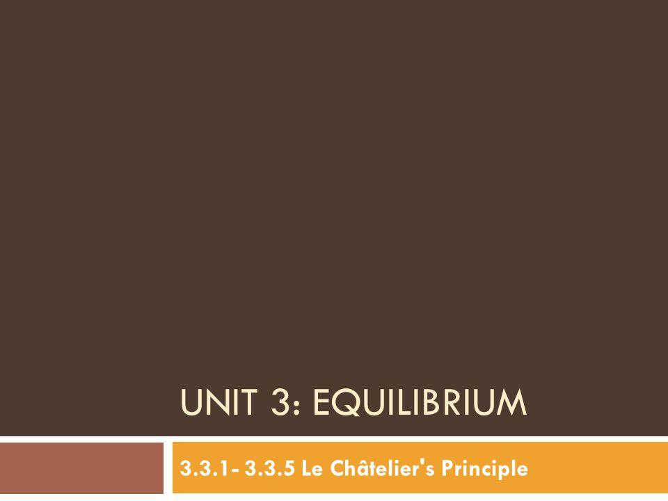 3.3.1- 3.3.5 Le Châtelier s Principle