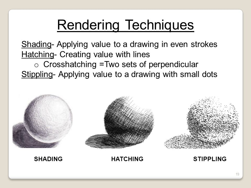 Quiz #1- Review Rendering Techniques. Shading- Applying value to a drawing in even strokes. Hatching- Creating value with lines.