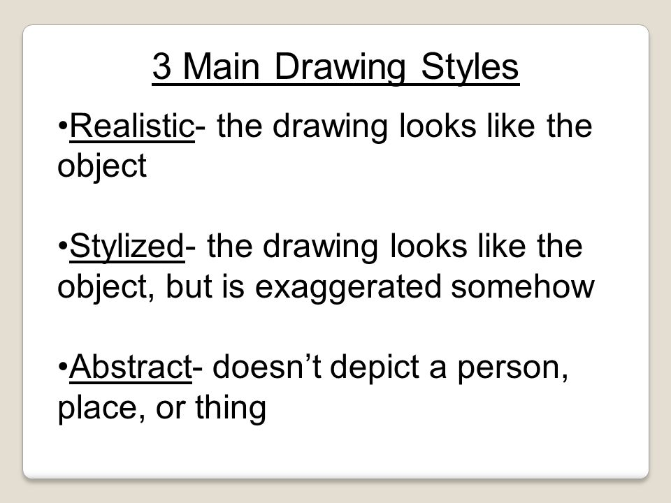 3 Main Drawing Styles Realistic- the drawing looks like the object