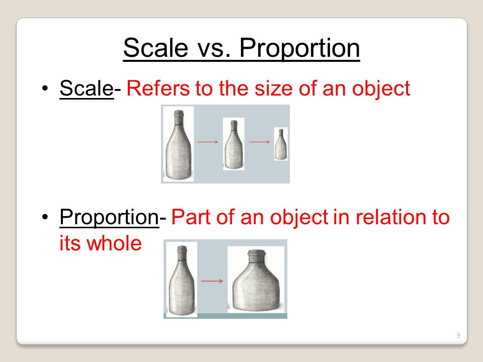 Scale vs. Proportion Scale- Refers to the size of an object