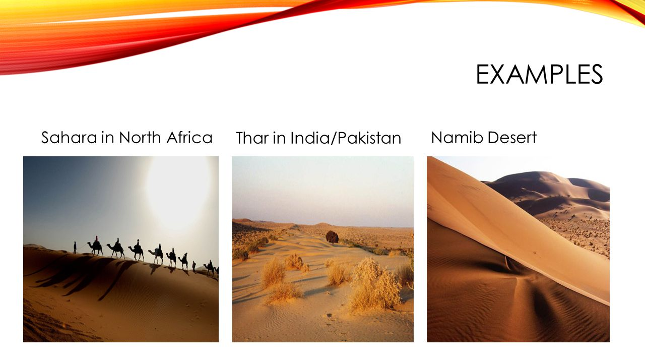 Examples Sahara in North Africa Thar in India/Pakistan Namib Desert