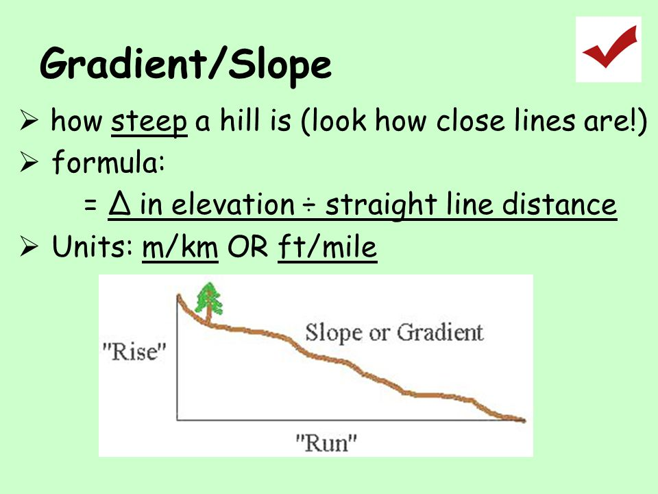 Gradient/Slope how steep a hill is (look how close lines are!)