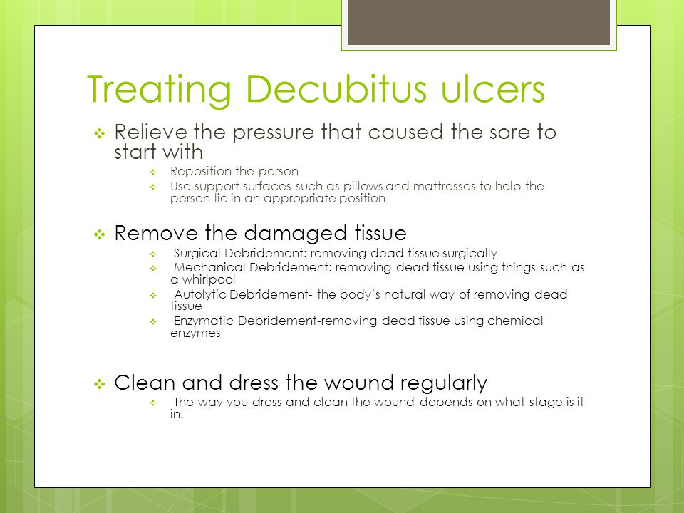 Treating Decubitus ulcers