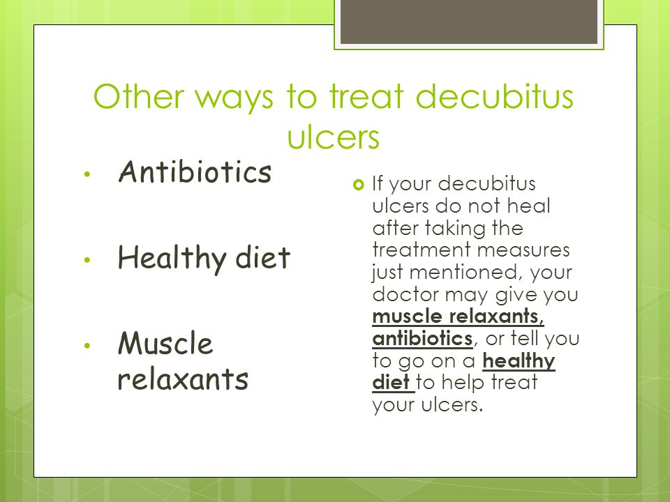 Other ways to treat decubitus ulcers
