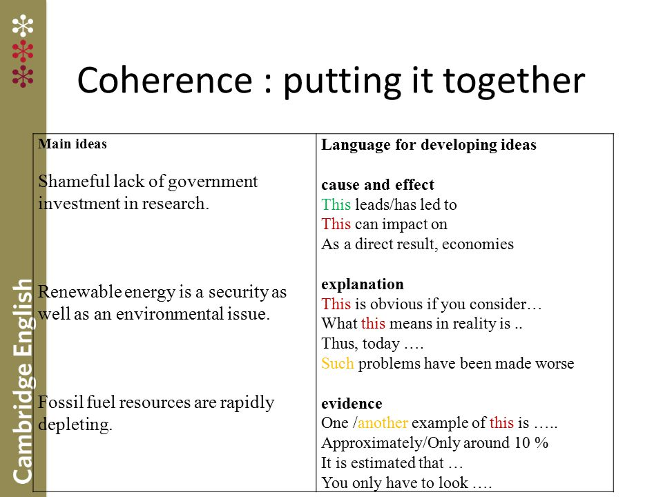 Coherence : putting it together