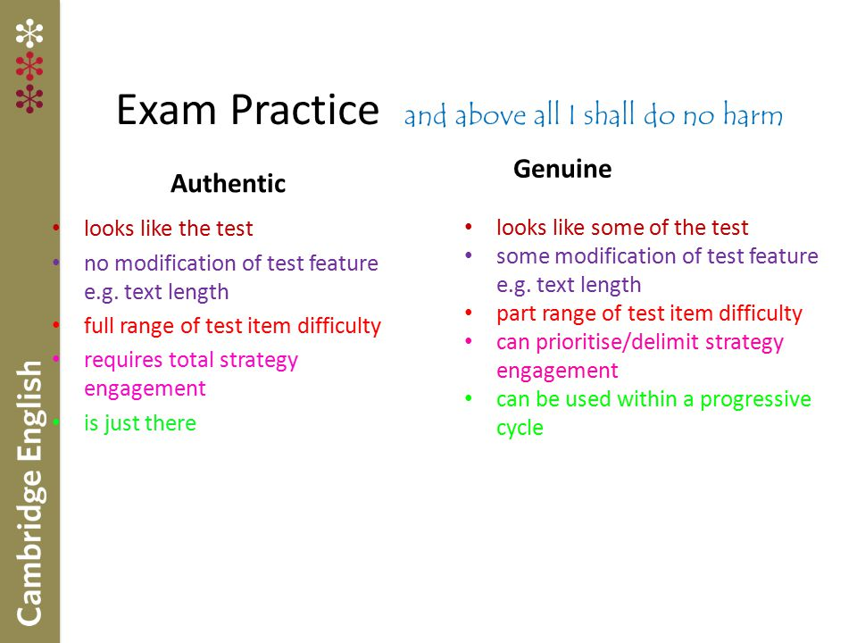 Exam Practice and above all I shall do no harm