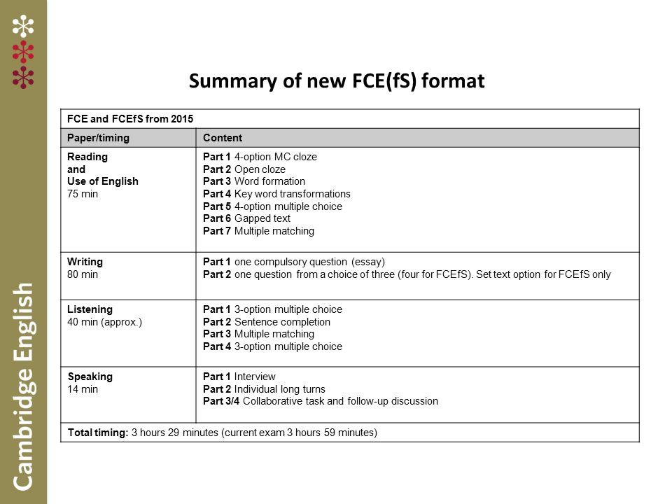 Summary of new FCE(fS) format