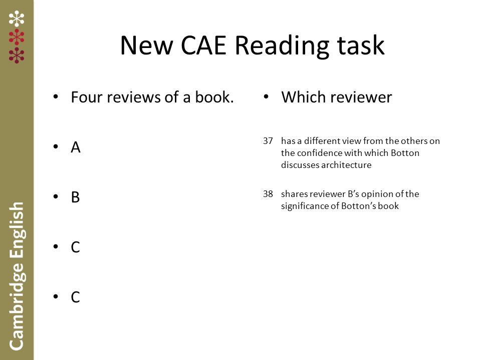 New CAE Reading task Four reviews of a book. A B C Which reviewer