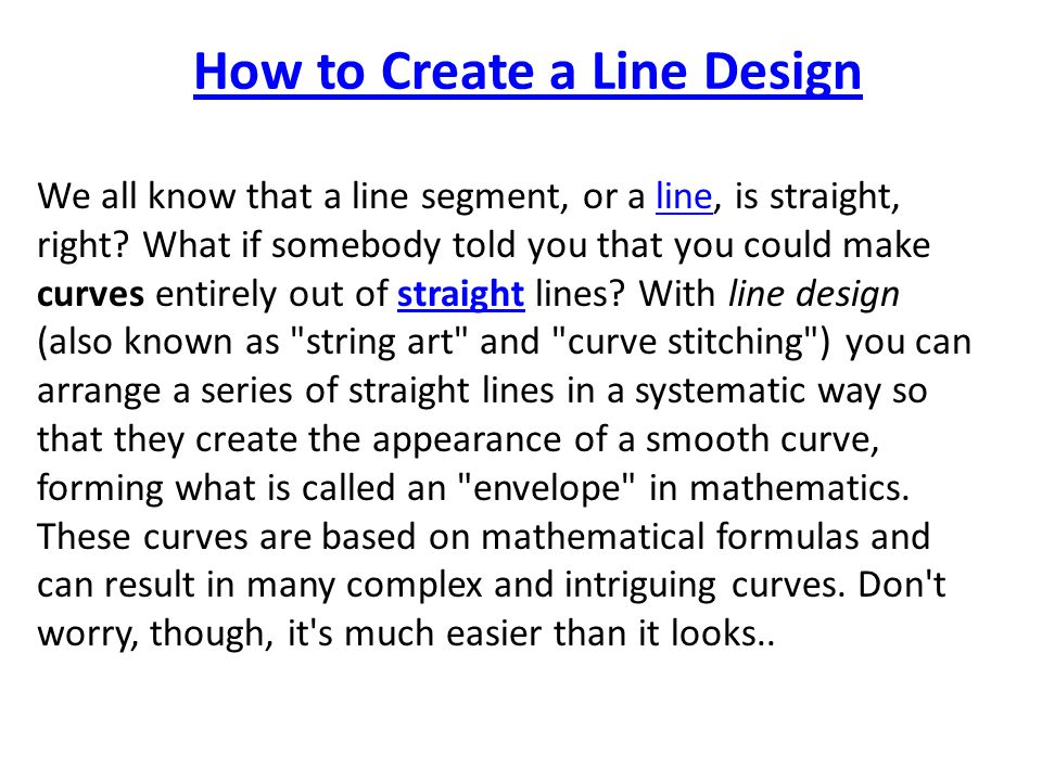 How to Create a Line Design