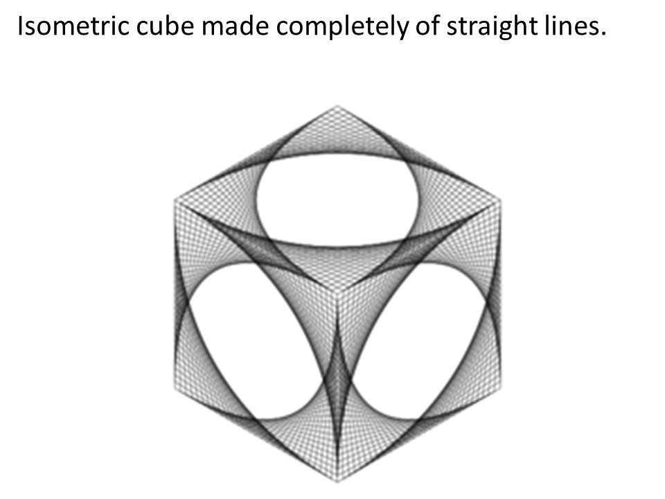 Isometric cube made completely of straight lines.