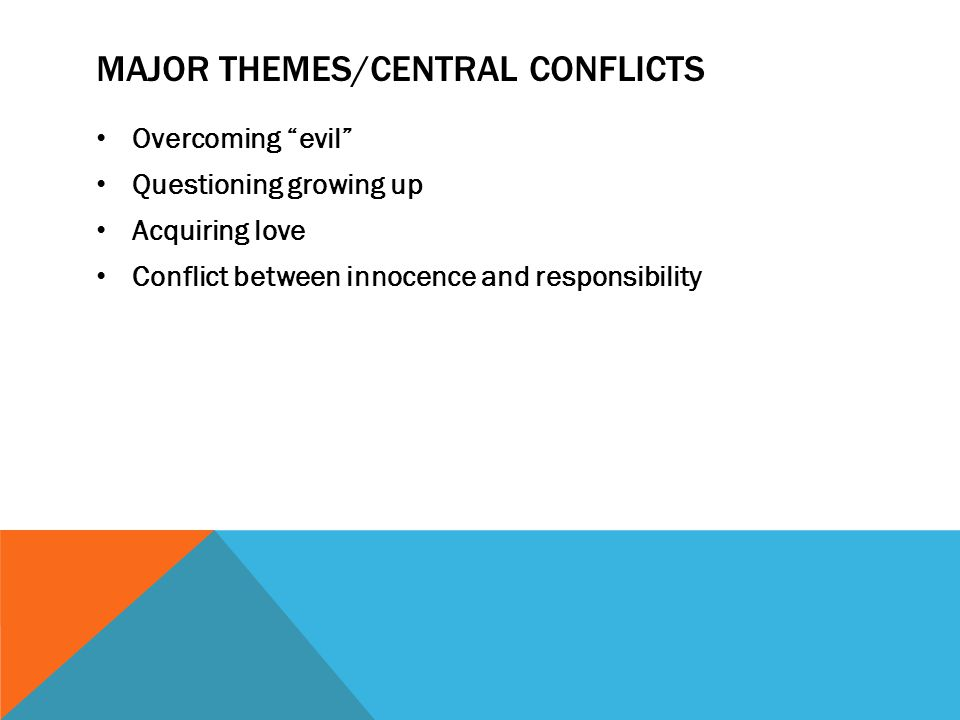 Major themes/Central Conflicts