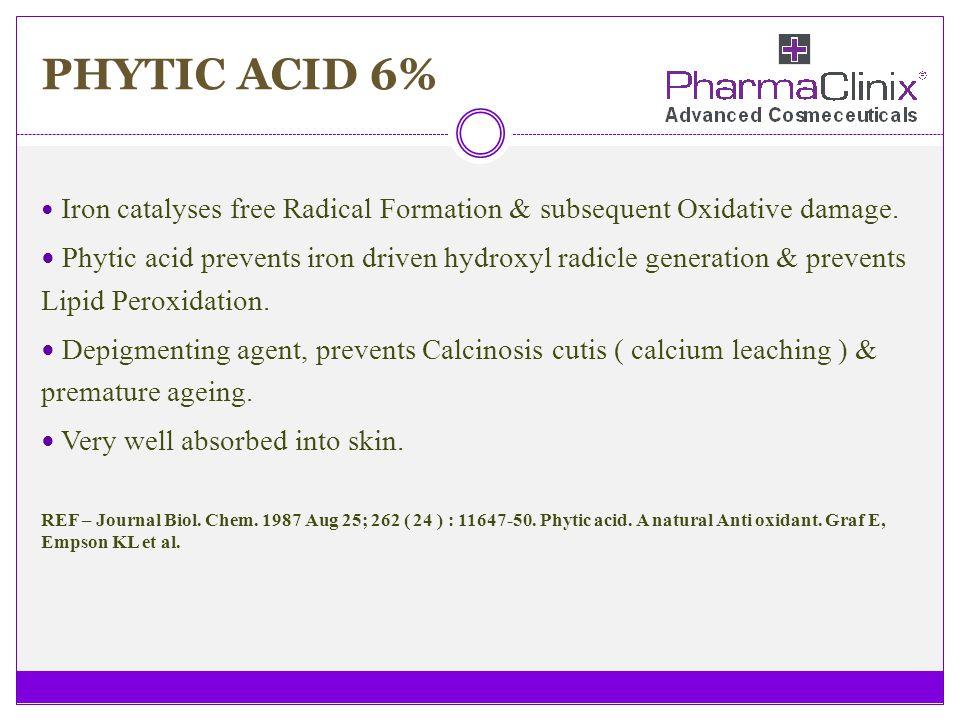 PHYTIC ACID 6% Iron catalyses free Radical Formation & subsequent Oxidative damage.
