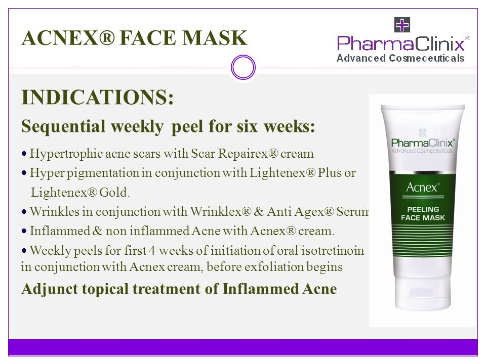ACNEX® FACE MASK INDICATIONS: Sequential weekly peel for six weeks:
