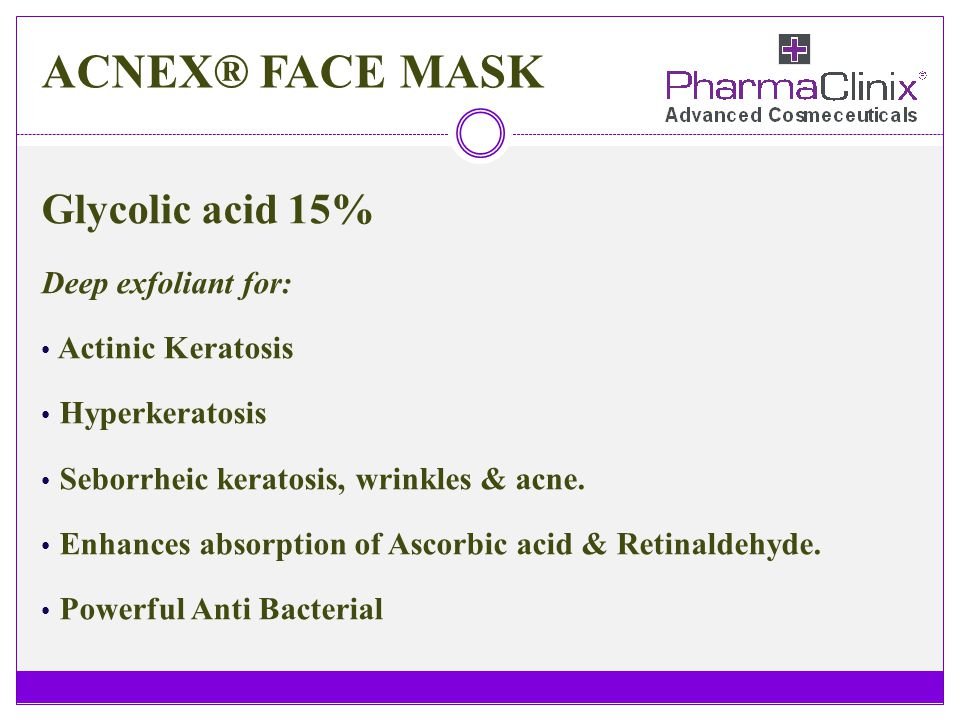 ACNEX® FACE MASK Glycolic acid 15% Deep exfoliant for: