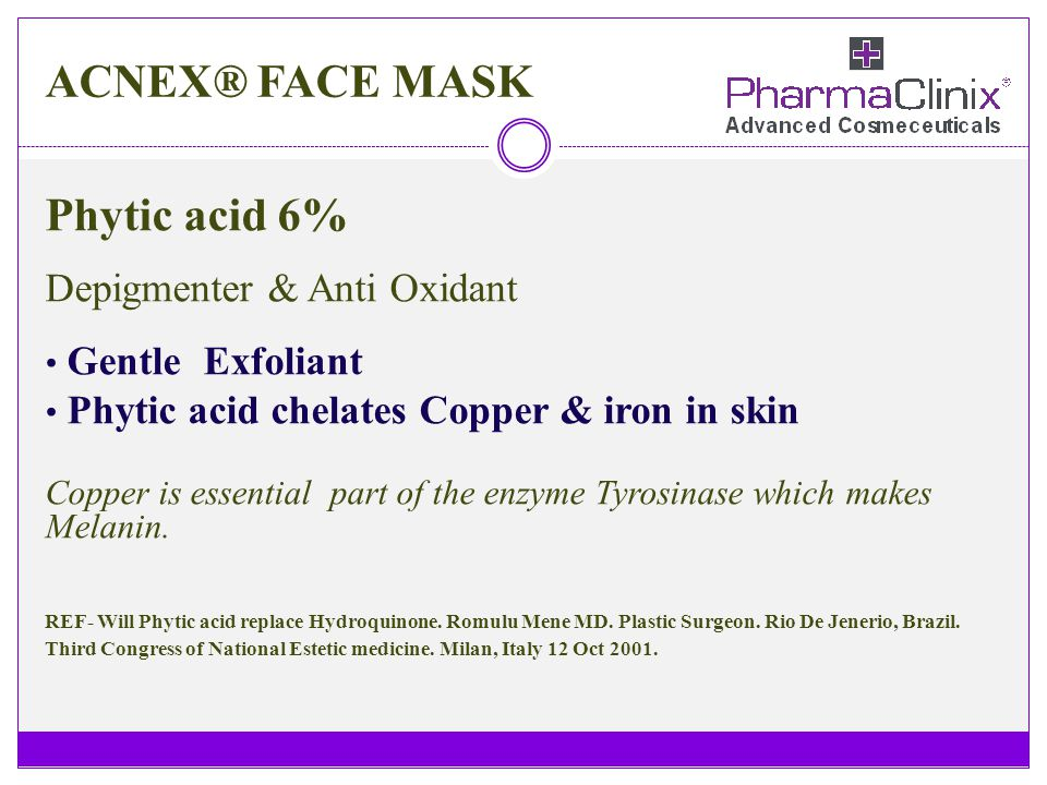 ACNEX® FACE MASK Phytic acid 6% Depigmenter & Anti Oxidant