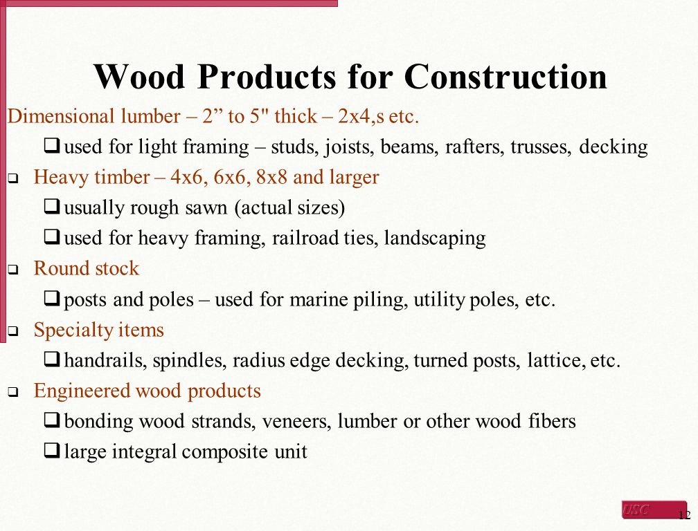 Wood Products for Construction