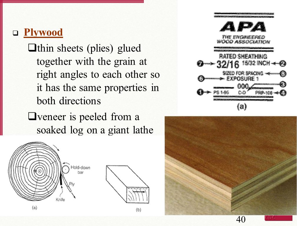Plywood thin sheets (plies) glued together with the grain at right angles to each other so it has the same properties in both directions.