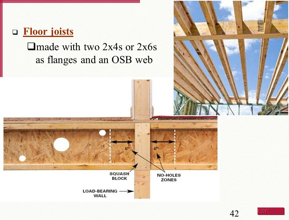 Floor joists made with two 2x4s or 2x6s as flanges and an OSB web