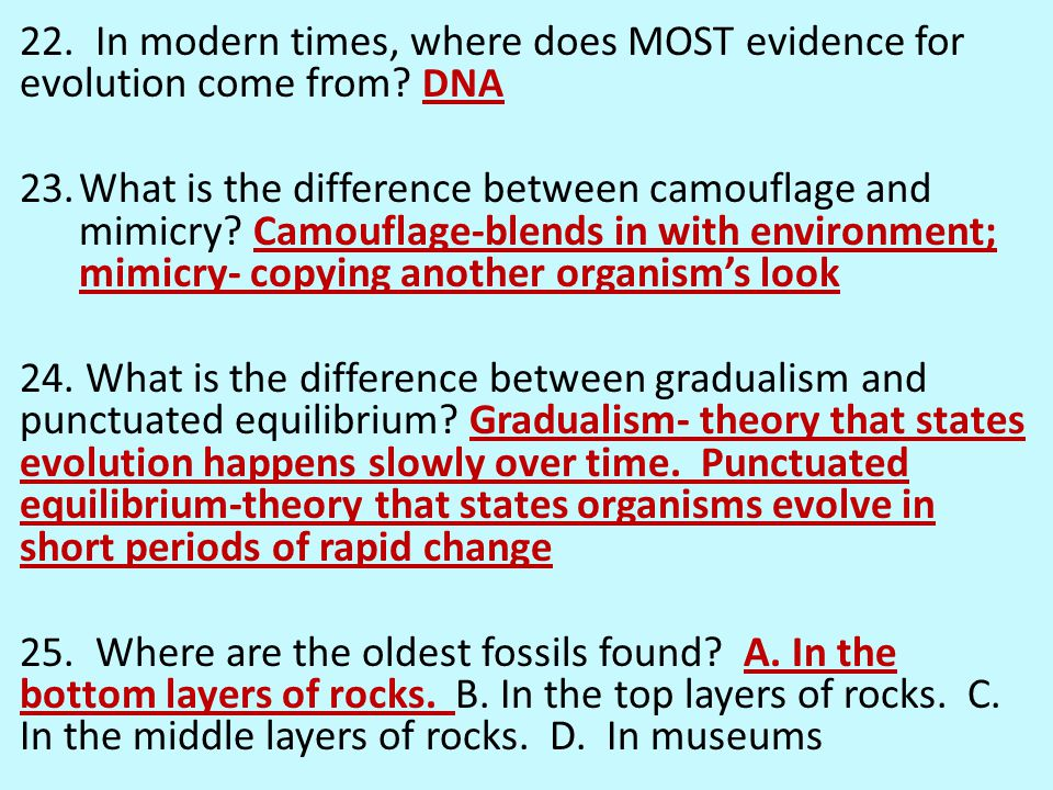 22. In modern times, where does MOST evidence for evolution come from