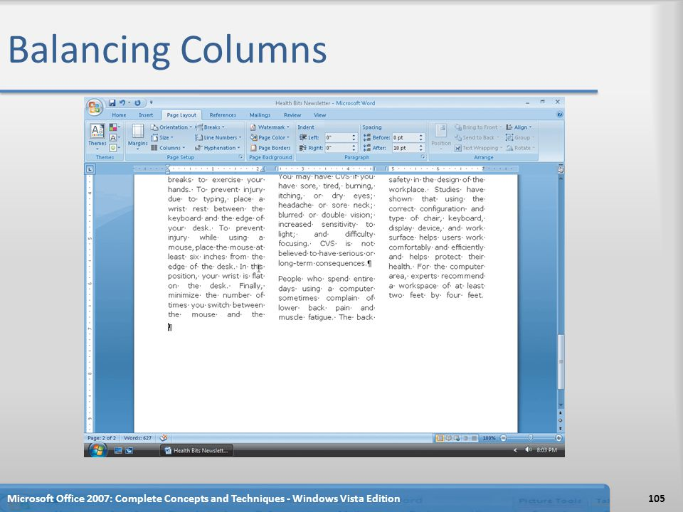 Balancing Columns Microsoft Office 2007: Complete Concepts and Techniques - Windows Vista Edition