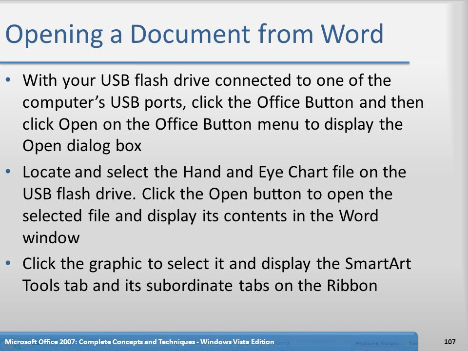Opening a Document from Word
