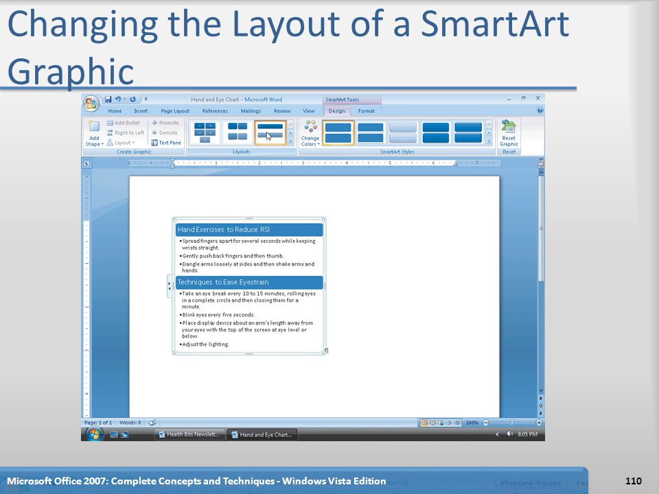 Changing the Layout of a SmartArt Graphic