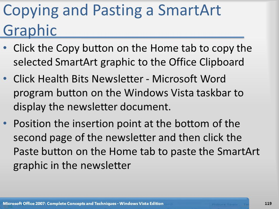 Copying and Pasting a SmartArt Graphic