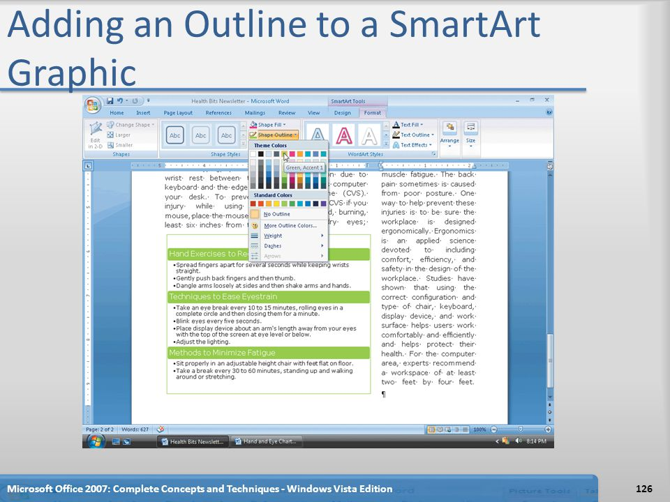Adding an Outline to a SmartArt Graphic