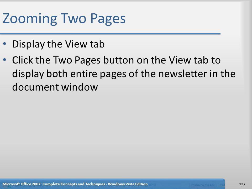 Zooming Two Pages Display the View tab