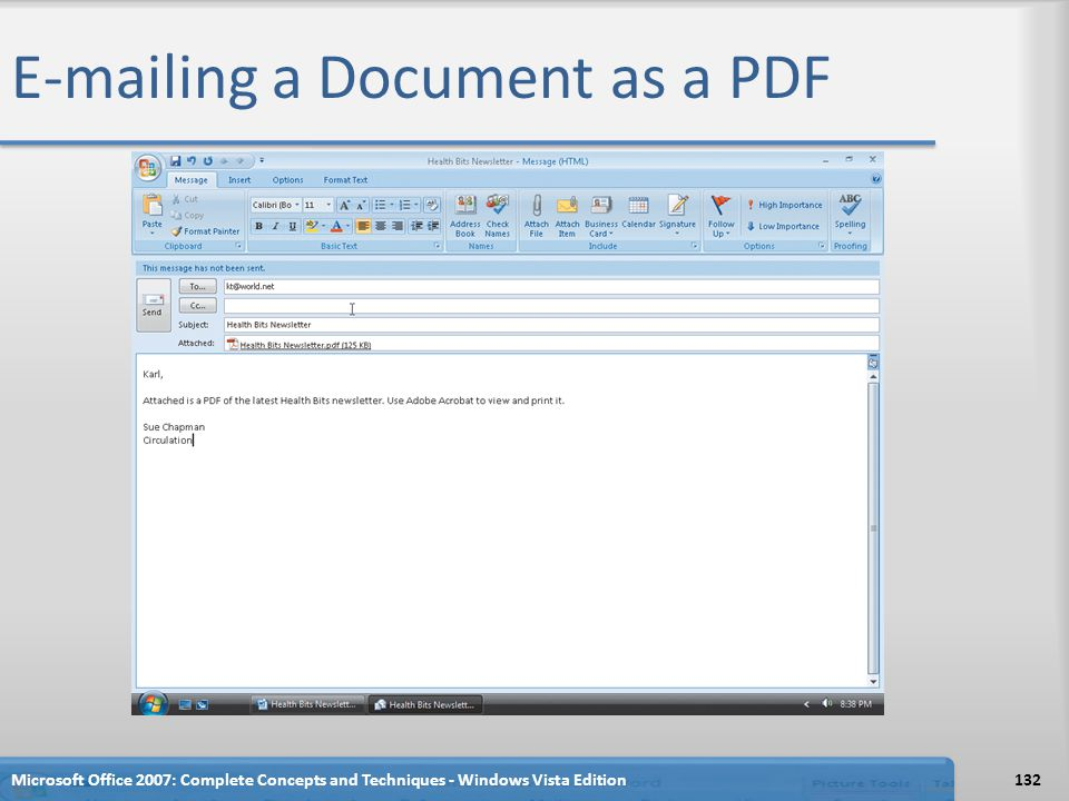 E-mailing a Document as a PDF