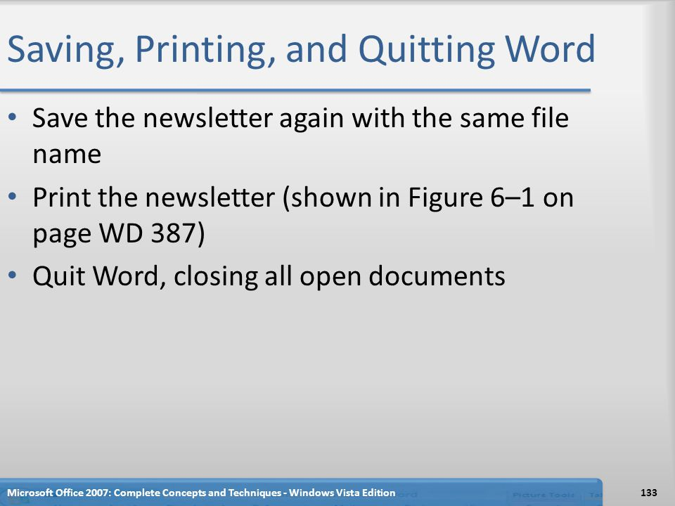 Saving, Printing, and Quitting Word