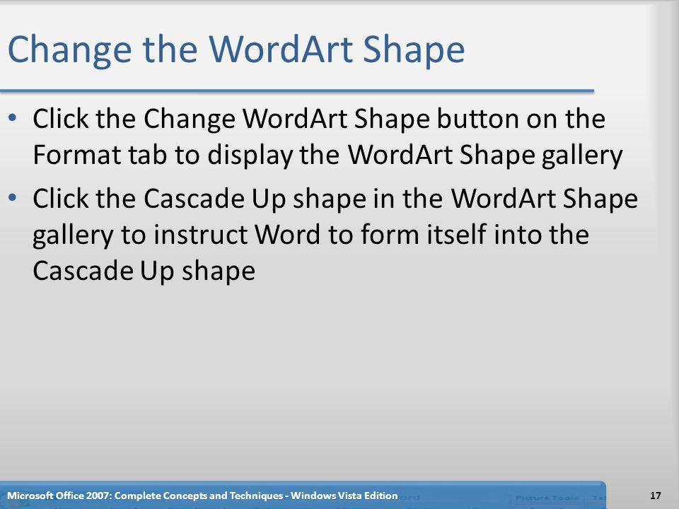 Change the WordArt Shape