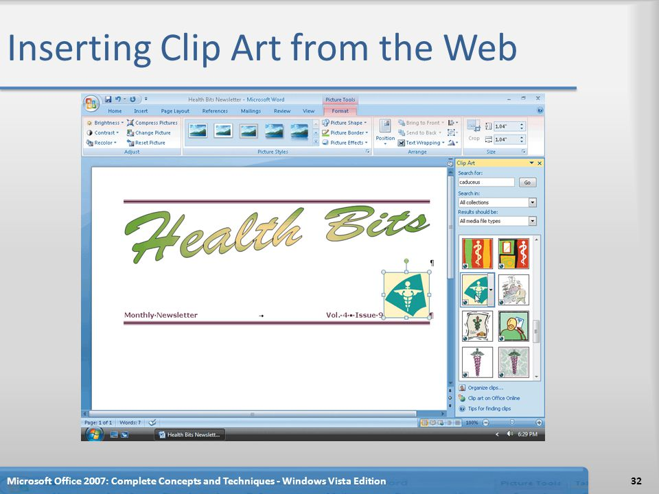Inserting Clip Art from the Web
