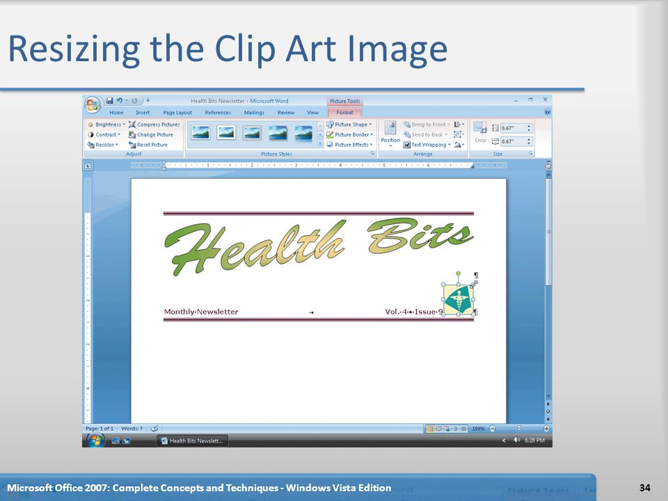 Resizing the Clip Art Image