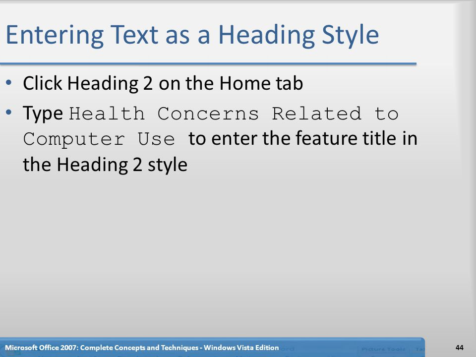 Entering Text as a Heading Style