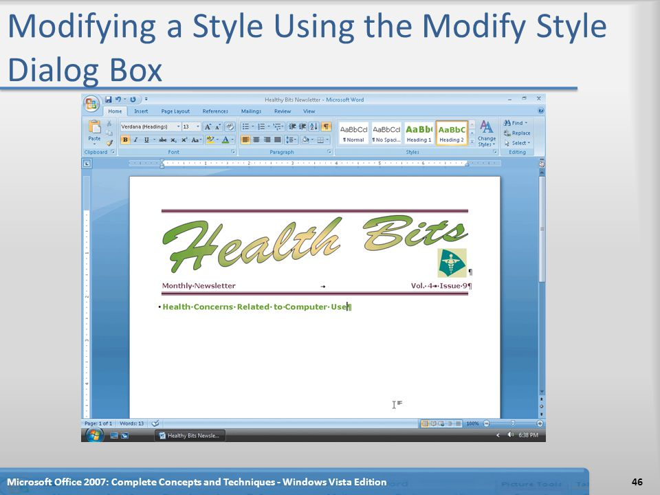 Modifying a Style Using the Modify Style Dialog Box