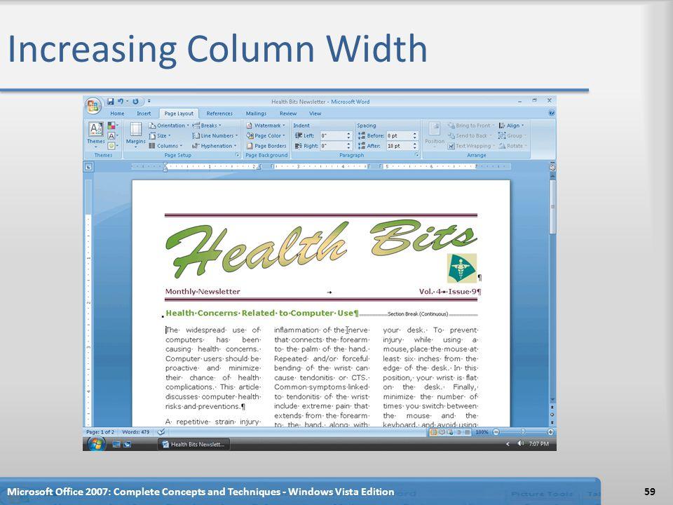 Increasing Column Width